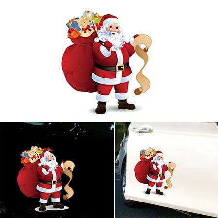 Cute Car Stickers Santa Window Glass Decal Removable Christmas Decorat