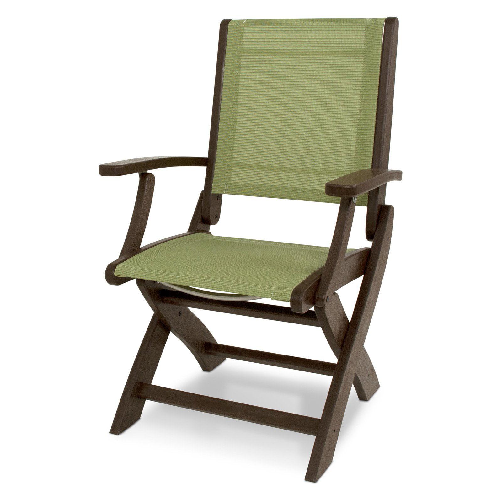 Outdoor POLYWOOD® Coastal Sling Folding Chair Mahogany Kiwi - 9000-MA911