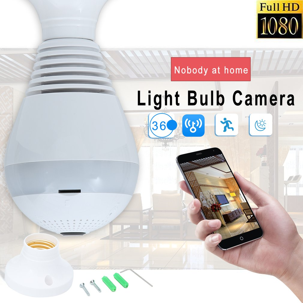 360 Degree Panoramic Led Bulb Light Smart Wireless Phone APP Control CCTV 3D VR Camera WiFi FishEye Lamp Home Security