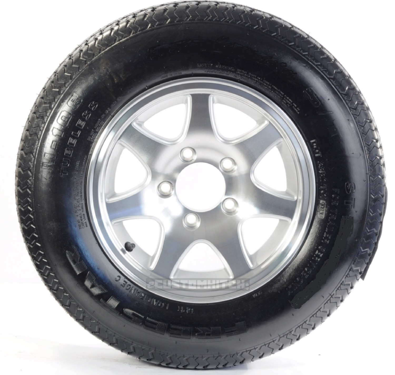2-Pk Hybrid Trailer Tire & Rim ST185/80D13 Load C 5 Lug T02 Aluminum 7-Spoke
