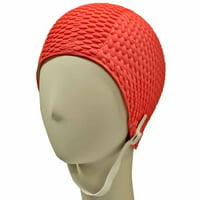 Beemo Swim Bathing Caps for Women or Girls Retro Style Latex Bubble Crepe Swimming Hat with Chin Strap for Long or Short Hair - Hot pink