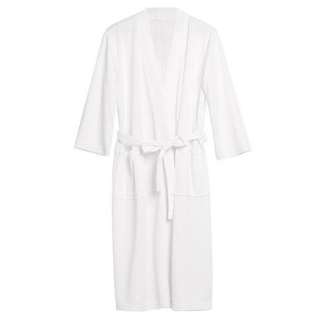 Uarter Men Women Robe Waffle Weave Bathrobe Couple Bath Robes Practical Night-robe for Spring and Summer, White, XL
