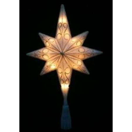 """11"""" LED Lighted White Glittered Bethlehem Star Christmas Tree Topper - Clear"""