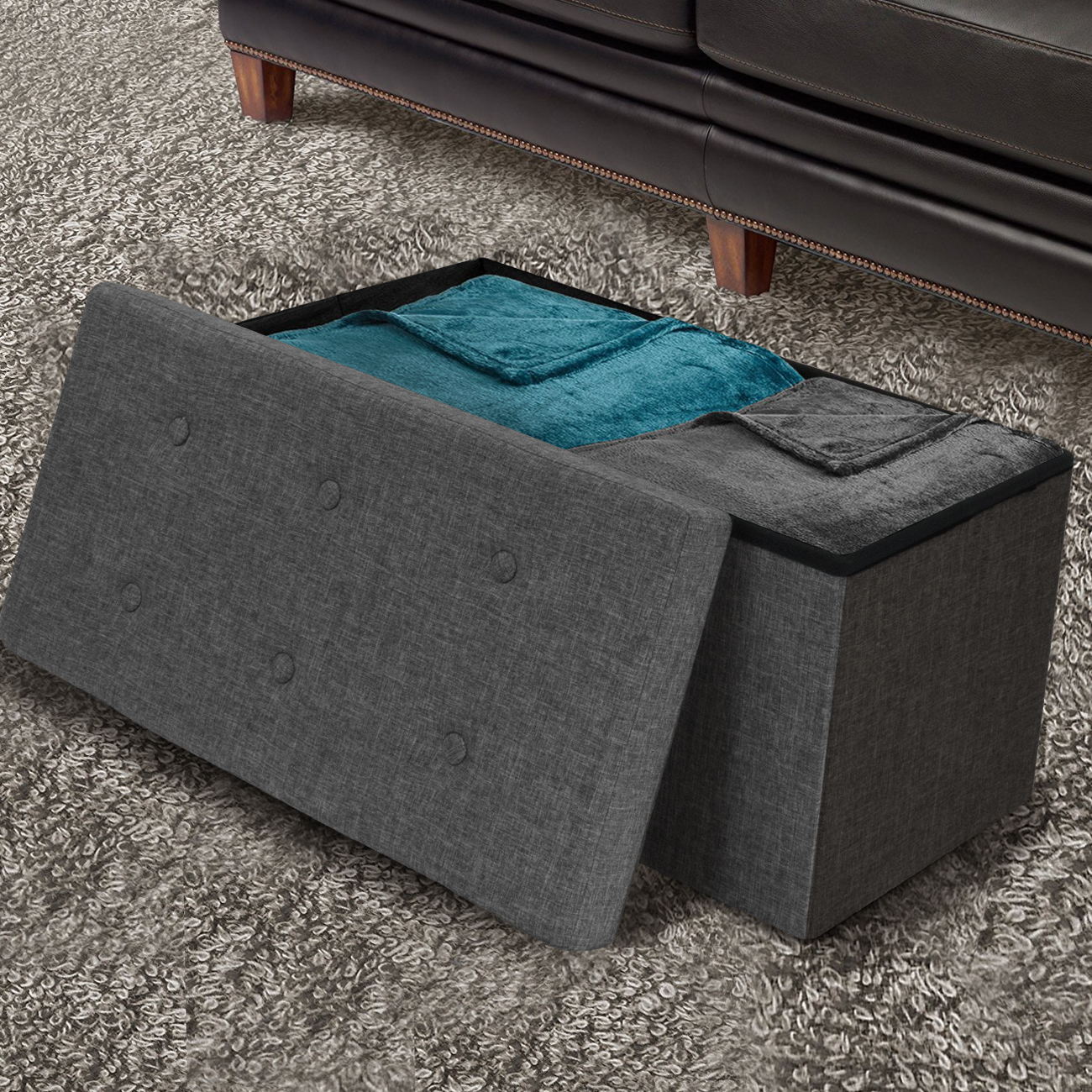 Sorbus Storage Ottoman Bench – Collapsible/Folding Bench Chest with Cover – Perfect Toy and Shoe Chest, Hope Chest, Pouffe Ottoman, Seat, Foot Rest, – Contemporary Faux Linen (Medium, Gray)