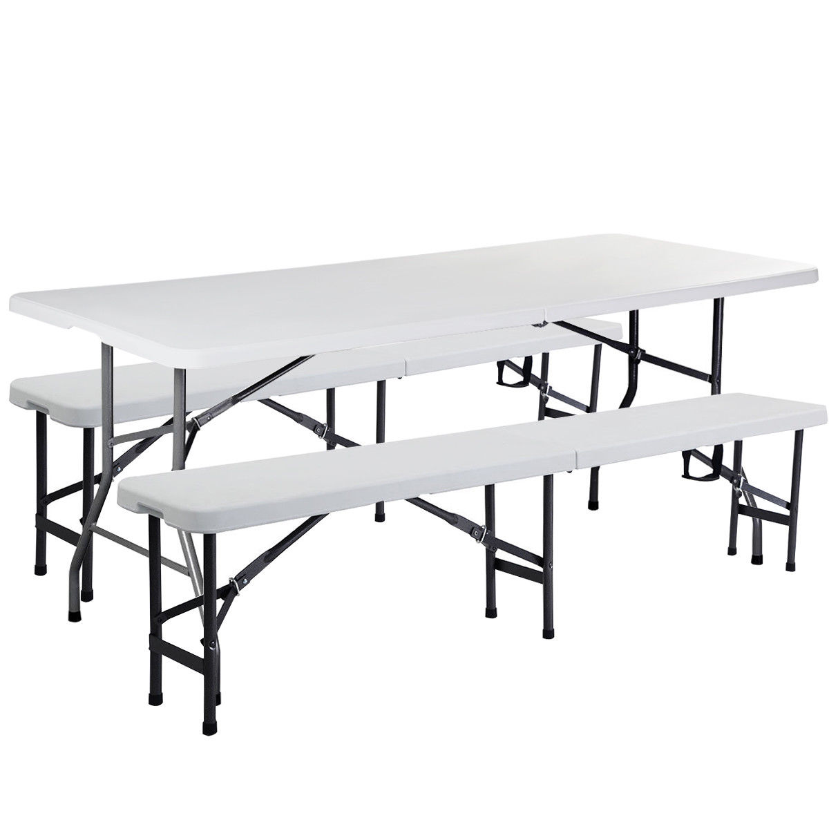 GHP Set of 3 Off White Steel Frame HDPE Multipurpose 4-Seat Table & 2-Pcs 8-Seat Bench