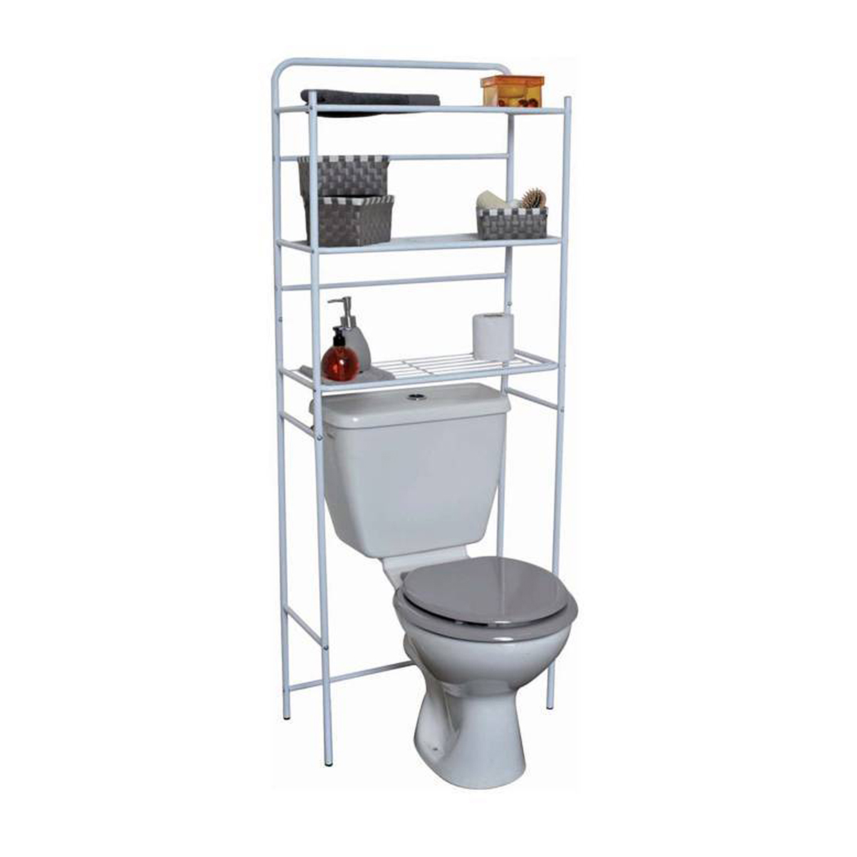 Evideco Over The Toilet Space Saver Cabinet Metal 3 Tier