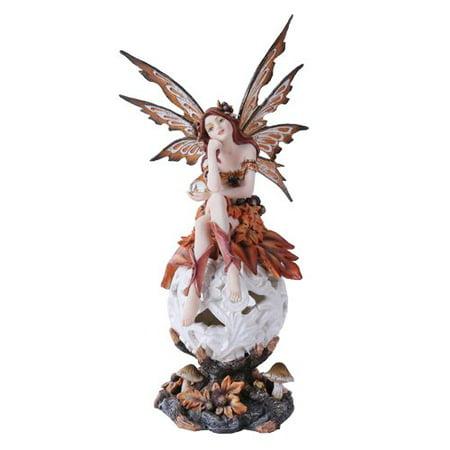 Beautiful Crimson Fairy Goddess Guarding Glowing Flower Ball Figurine Night Light Multi Color LED Collector Sculpture Statue