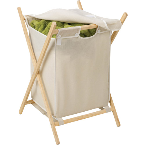 Honey Can Do Folding Laundry Hamper with Removable Bag, Natural/Beige