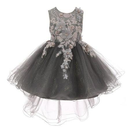 Little Girls Silver 3D Floral Appliques Hi-Low Tulle Flower Girl Dress](Silver Little Girl Dresses)