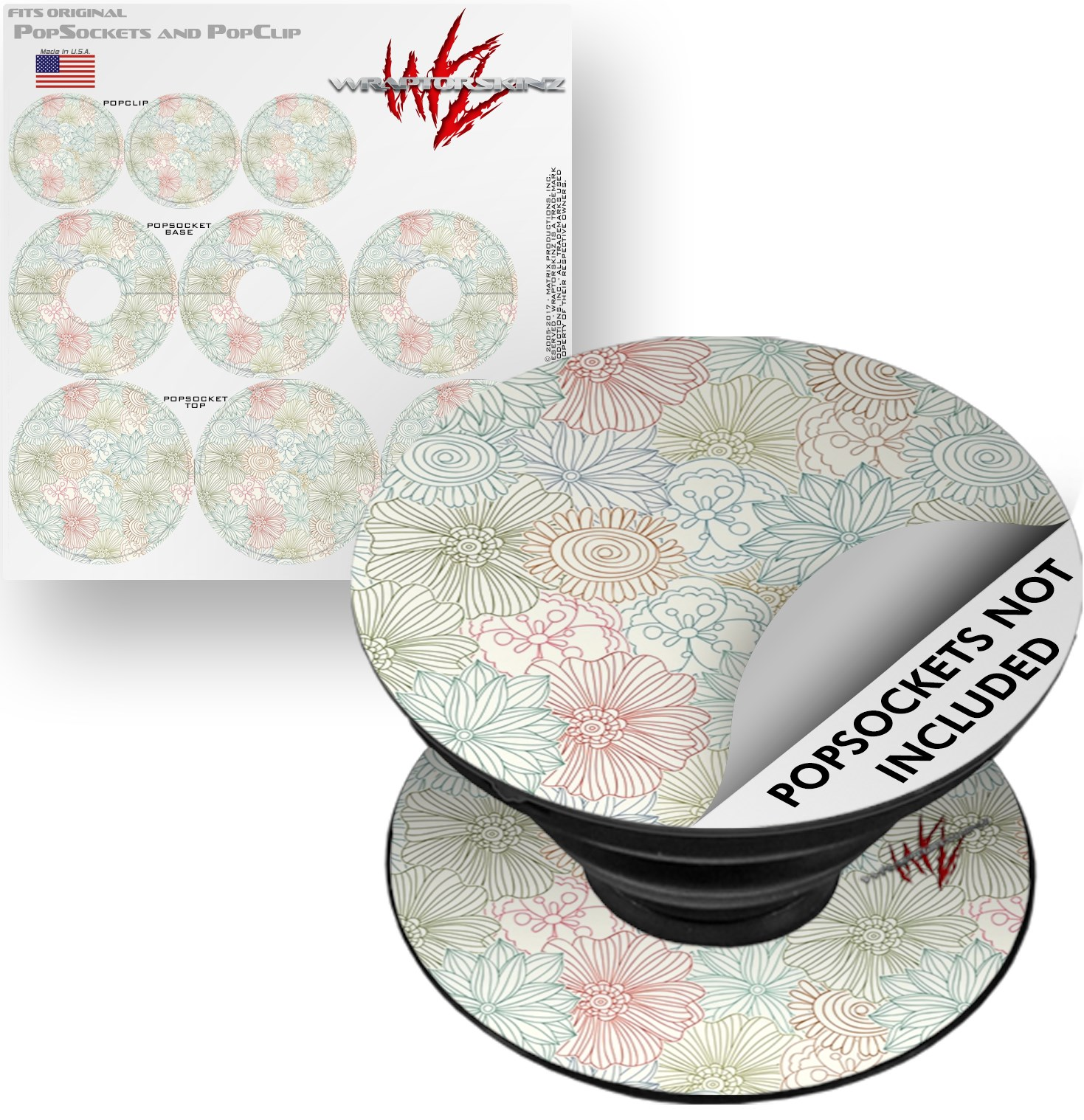 Decal Style Vinyl Skin Wrap 3 Pack for PopSockets Flowers Pattern 02 (POPSOCKET NOT INCLUDED) by WraptorSkinz