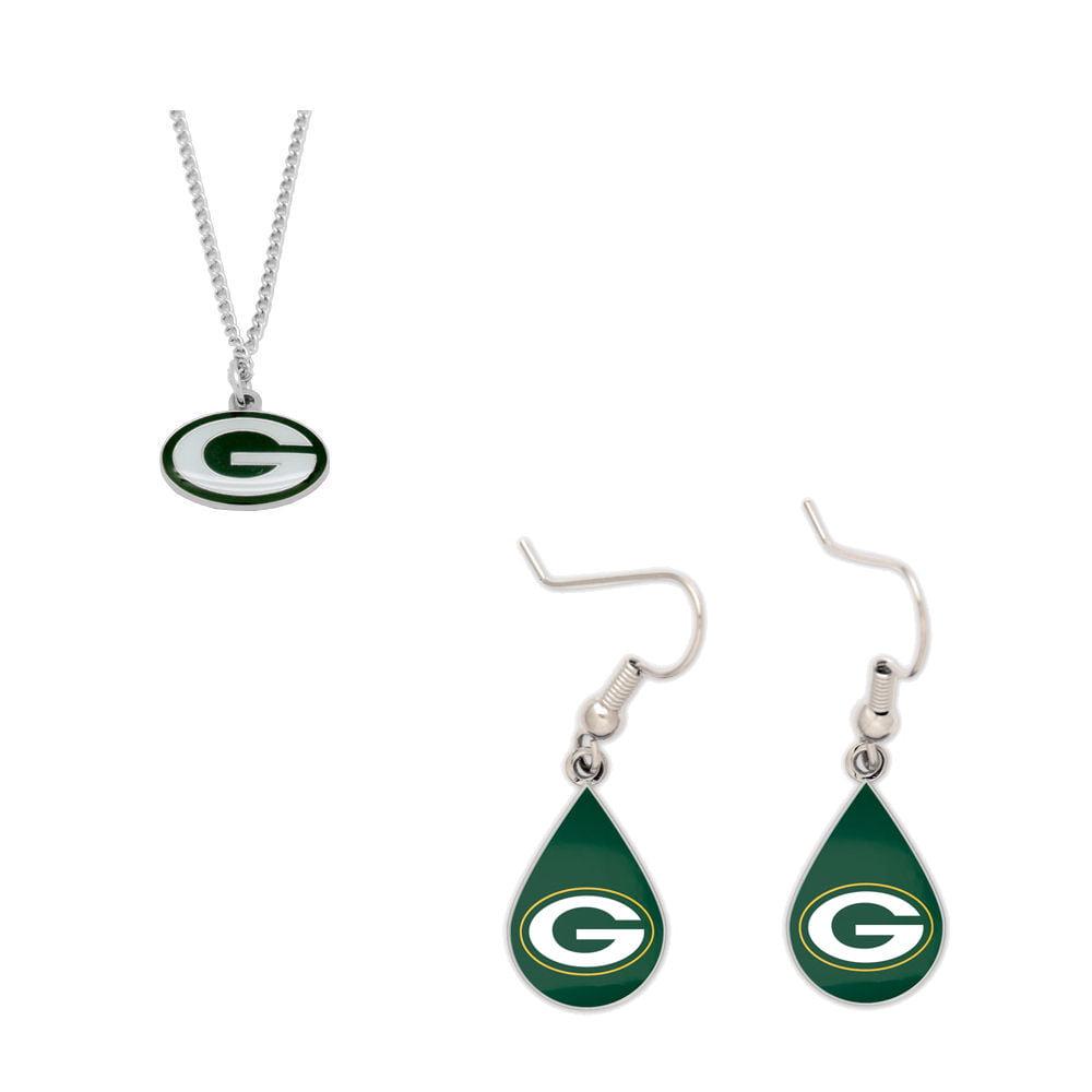 Bundle: Green Bay Packers Logo Necklace and Teardrop Earrings