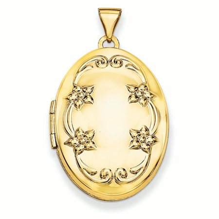 14K Yellow Gold Scroll Heart Oval Locket Charm Pendant