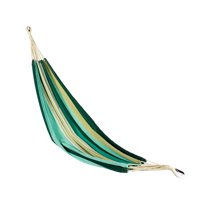 Blue and Green Striped Cotton Single Person Hammock in A Bag