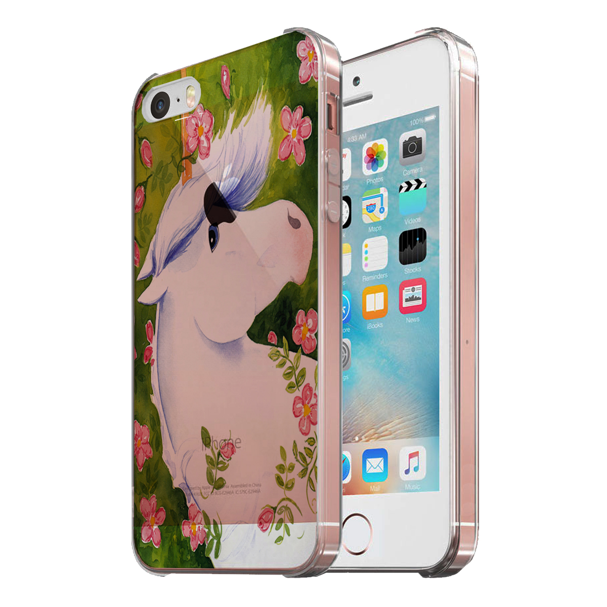 KuzmarK Clear Cover Case fits iPhone SE & iPhone 5 - Blue-Eyed Unicorn with Pink Roses Art by Denise Every