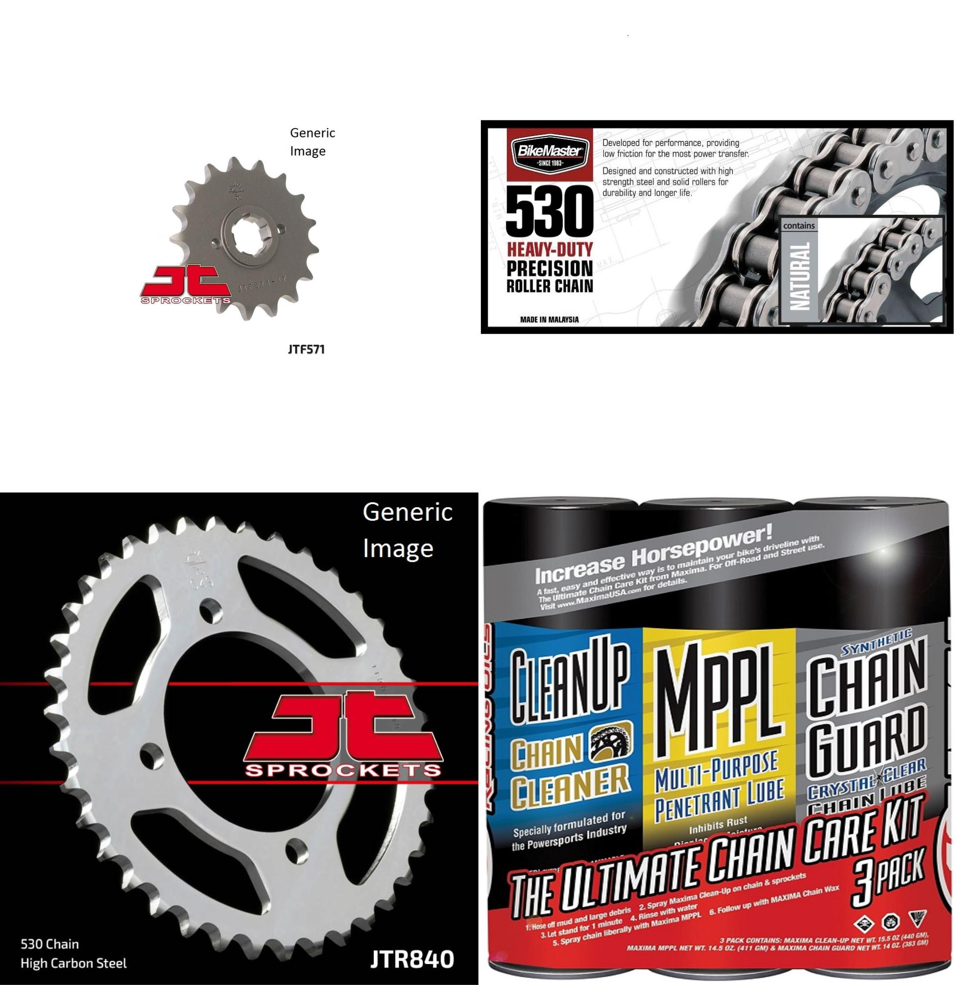 BIKEMASTER 530H Heavy-Duty Precision Roller Chain Natural with MAXIMA Wax, JT Front & Rear Sprocket Kit for Street YAMAHA XS400R Seca 1982-1983
