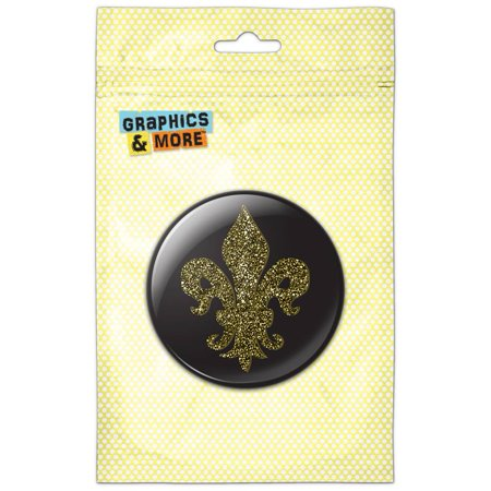- Glitter Fleur De Lis Gold on Black Refrigerator Button Magnet