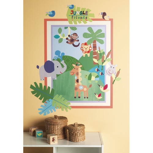 Wallies Peel and Stick Jungle Friends Wall Decal