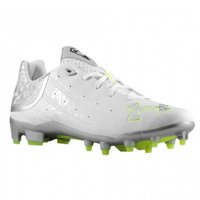 NEW Mens Under Armour Banshee Low Lacrosse / Football Cleats White / Silver 16M