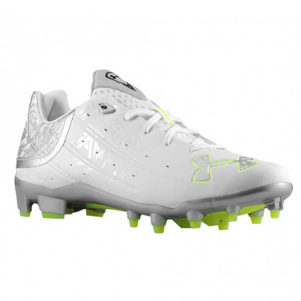 Silver Sz 9.5 M Football Cleats White New Mens Under Armour Banshee Lacrosse