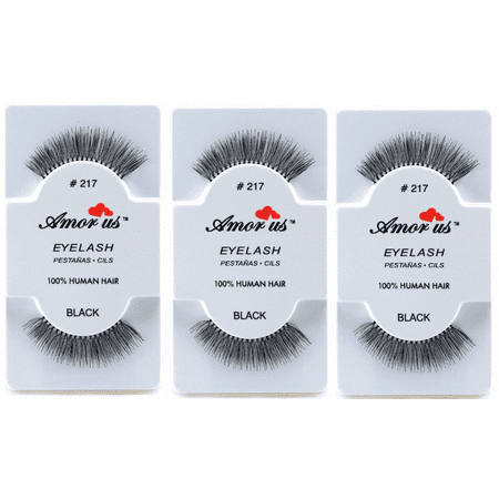 LWS LA Wholesale Store  3 Pairs AmorUs 100% Human Hair False Long Eyelashes # 217 compare Red Cherry - Longs Wholesale