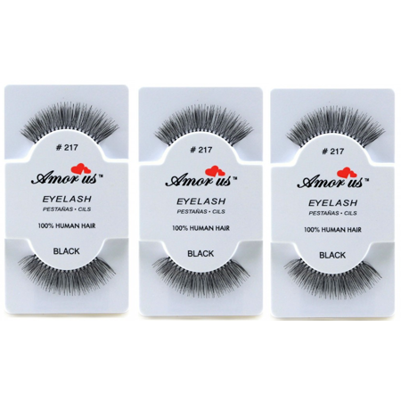 LWS LA Wholesale Store  3 Pairs AmorUs 100% Human Hair False Long Eyelashes # 217 compare Red Cherry