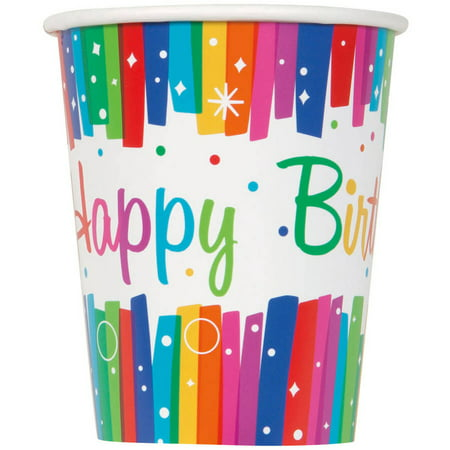 9oz Paper Rainbow Birthday Party Cups, 8ct