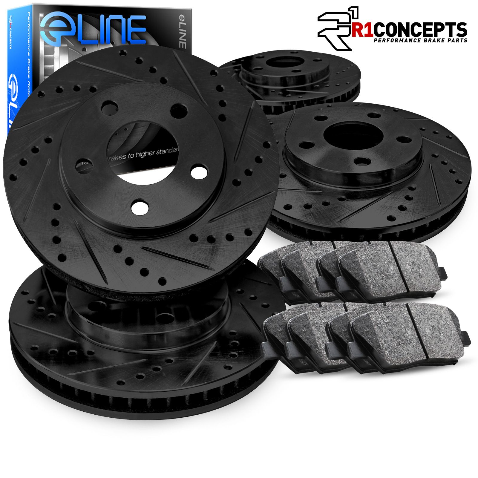 Black Slot Drill Rotor Ceramic Pads F+R 2002 2003 2004 Honda CR-V