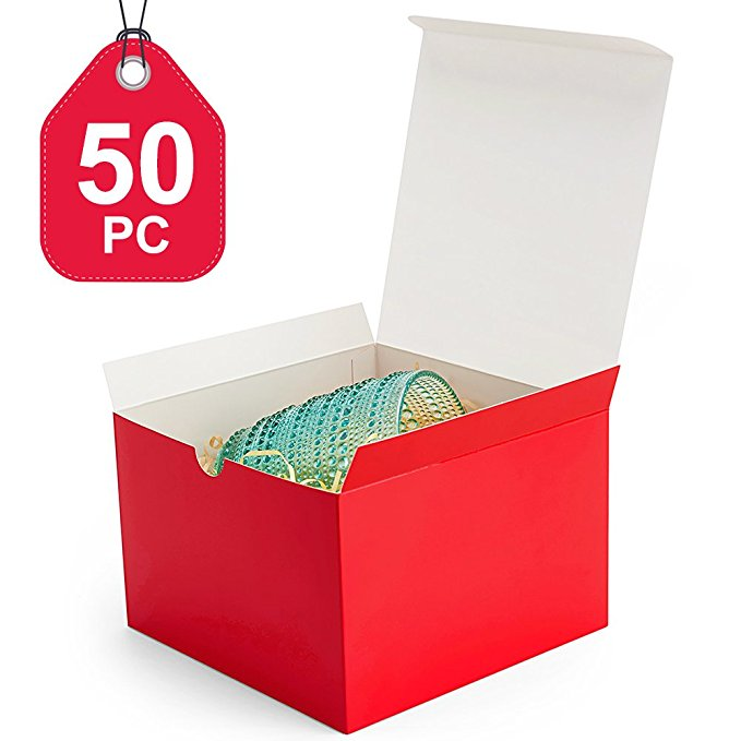 MESHA Gift Boxes Colored Paper Gift Boxes with Lids for Gifts, Crafting, Cupcake Boxes (6x6x4)