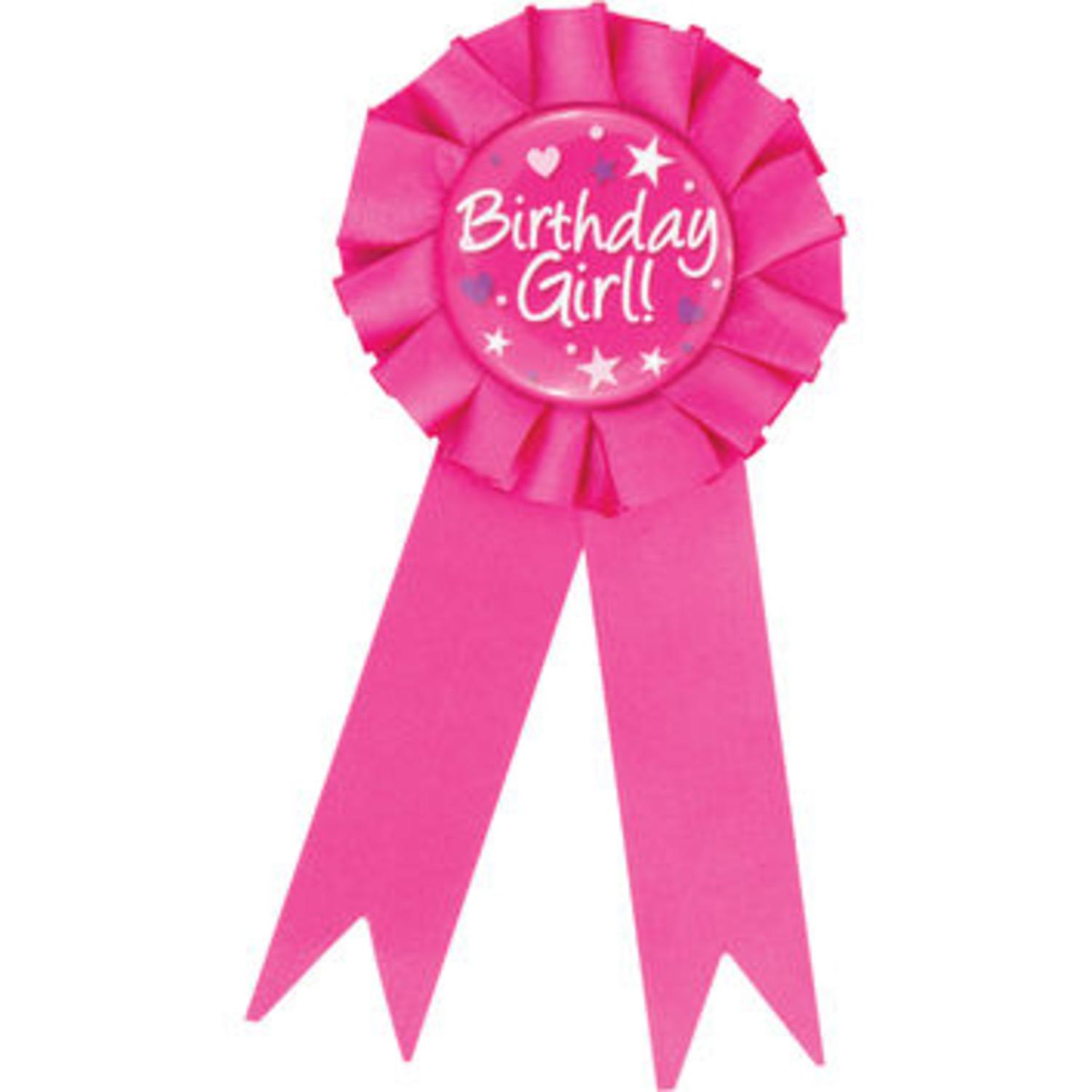 "Club Pack of 12 Decorative Fuscia Pink ""Birthday Girl"" Award Ribbons 6.25"""