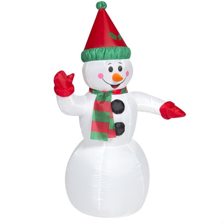 Outdoor Christmas Inflatable (Best Choice Products 4ft Pre-Lit Indoor Outdoor Inflatable Snowman Christmas Holiday Yard Decoration w/ UL-Listed Blower, Lights, Ground Stakes for Garden -)