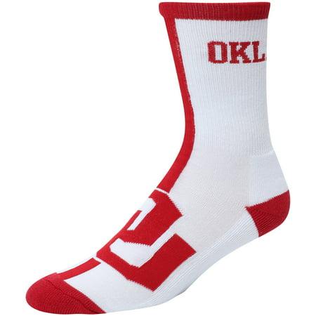 Oklahoma Sooners White For Bare Feet Big Time Crew Socks - 8-12](Big Feet Man)