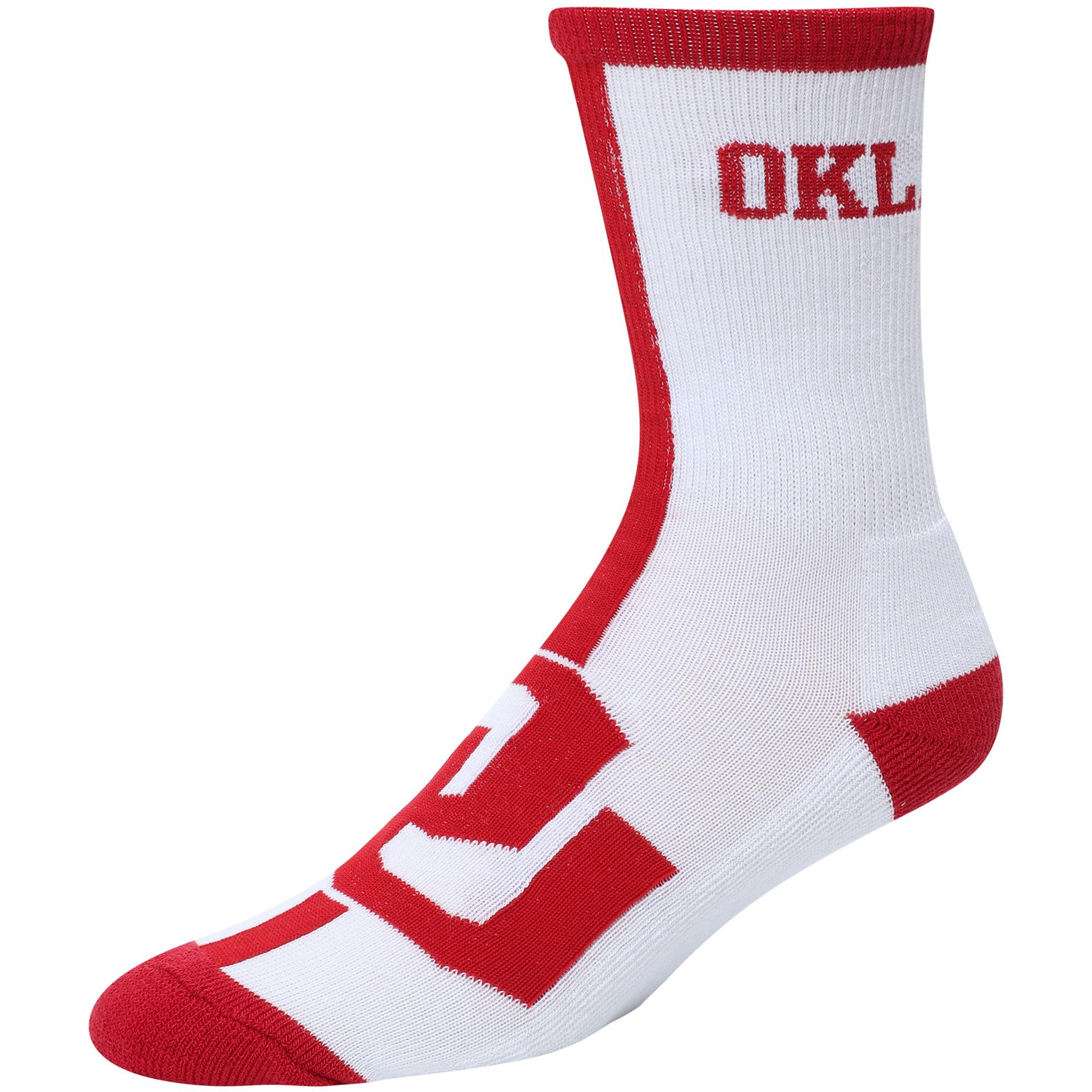 Men's For Bare Feet White Oklahoma Sooners Big Time Crew Socks - 8-12