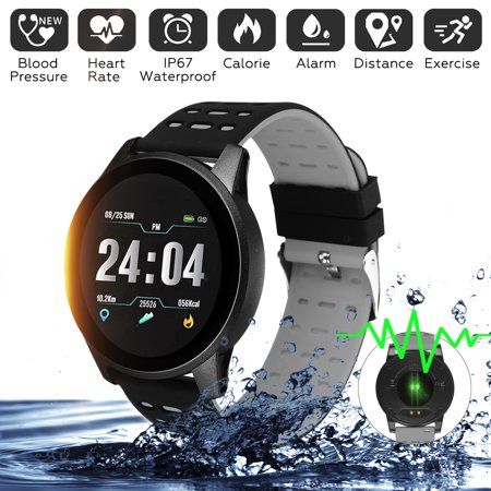 2019 Sports Smart Watch Wristband Heart Rate Blood Pressure Oxygen Monitor Color Screen Bracelet IP67 Waterproof For Samsung IOS Android ()