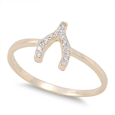 Good Luck Wishes Cards - CHOOSE YOUR COLOR Gold-Tone Wishbone Good Luck White CZ Ring .925 Sterling Silver Band (Yellow Gold-Tone/Ring Size 8)