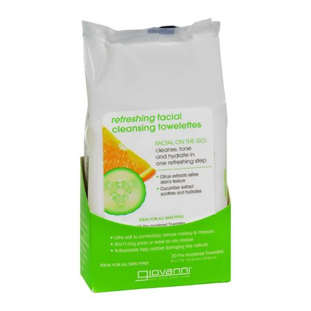 Giovanni Refreshing Facial Cleansing Towelettes, Citrus and Cucumber, 30 Ea, 3 Pack