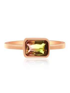 Cubic Zirconia & Watermelon Tourmaline Bar Ring in Rose Gold over Sterling Silver