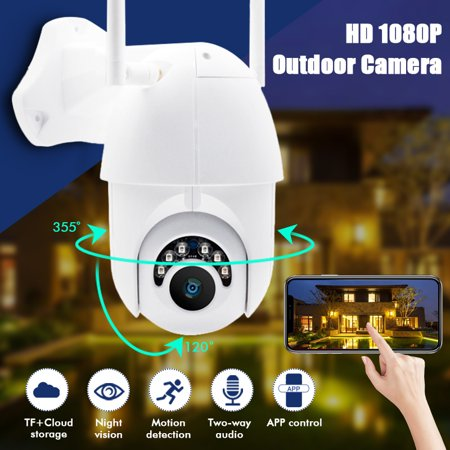Smart Indoor Outdoor Wireless Vandal-Proof IP PTZ Camera HD 1080P WiFi Pan Tilt Zoom Security Camera IP66 Weatherproof SD Card Slot Night Vision Work for IOS, Android or - Zoom Wireless Network Camera