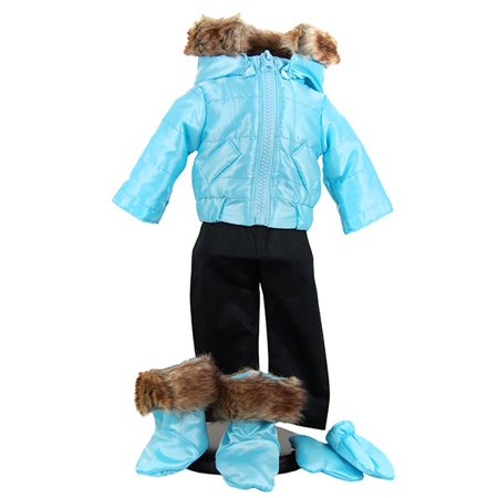 18 Inch Ski Wear Doll Clothes Outfit, 6 Pc Zippered Jacket, Pants, Gloves, Boots