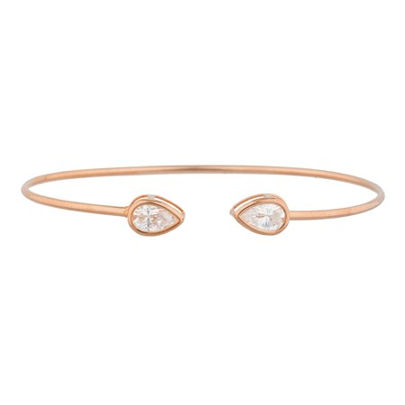 14Kt Rose Gold Plated Zirconia Pear Bezel Bangle Bracelet 14k Rose Gold Bangle Bracelet