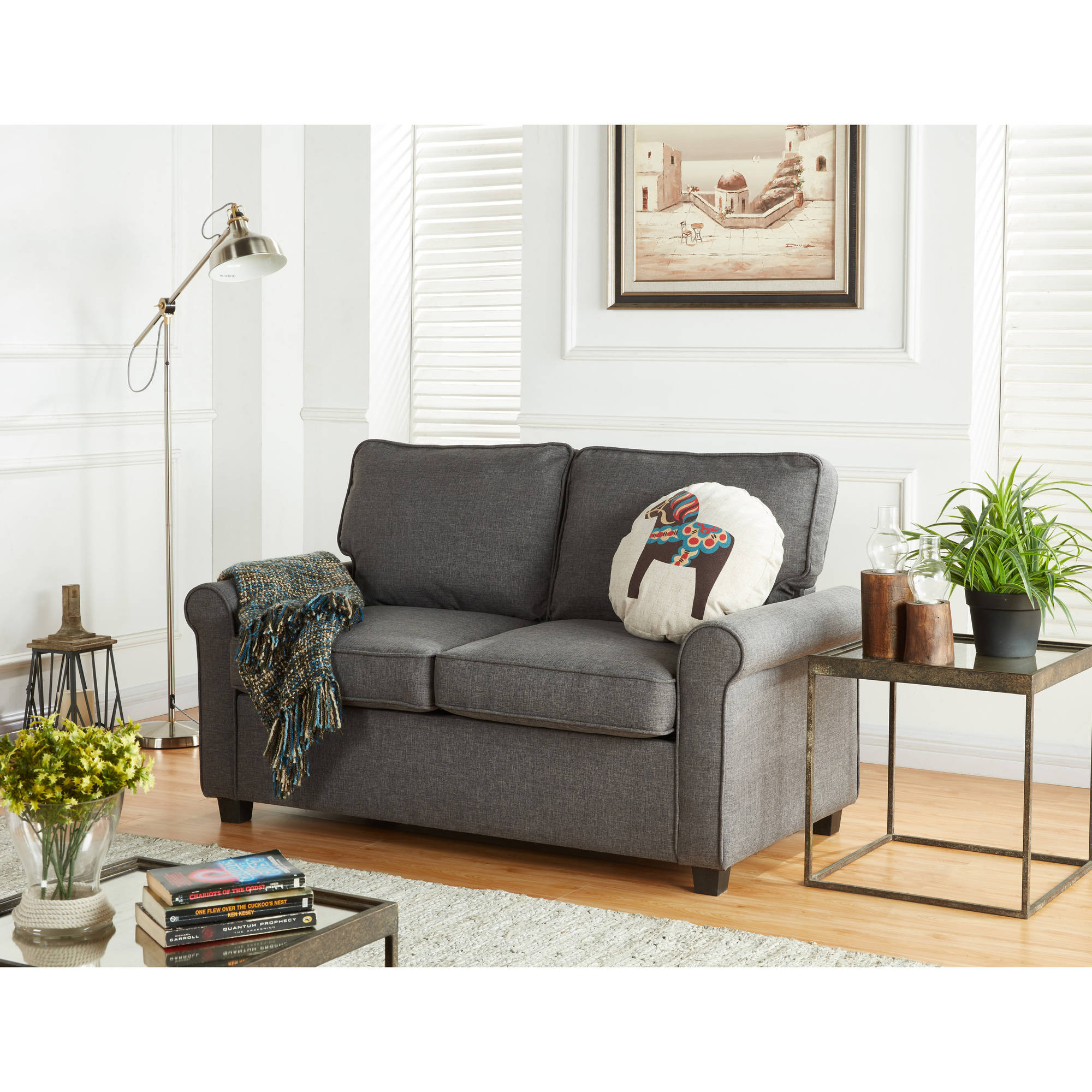 Sensational Mainstays 57 Loveseat Sleeper With Memory Foam Mattress Grey Beutiful Home Inspiration Xortanetmahrainfo