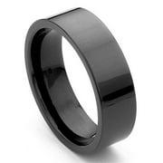 Titanium Kay Black Tungsten Carbide 7mm Flat Comfort Fit Mens Wedding Band Ring Sz 10.0