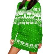 Autumn Winter Womens Christmas Jumper Dress Reindeer Snowflake Print Long Sleeves Tunic Dress Tops Ladies Party Evening Mini Dress