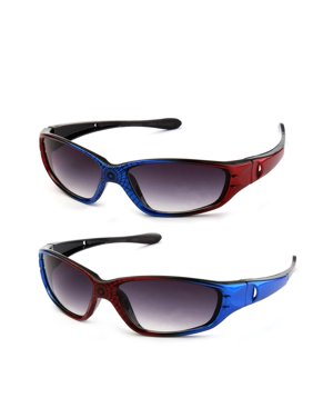 "Newbee Fashion - ""Spidey"" Kids Boys Plastic Two Tone Spider Web Wrap Around Sunglasses UV Protection (1-6 Years)"