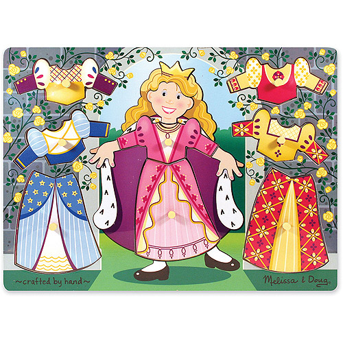 Melissa & Doug Princess Dress-Up Wooden Peg Puzzle (8 pcs)