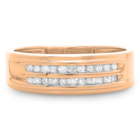 0.33 Carat (ctw) 10K Rose Gold Round Cut Diamond Men's Channel Set Double Row Anniversary Wedding Band 1/3
