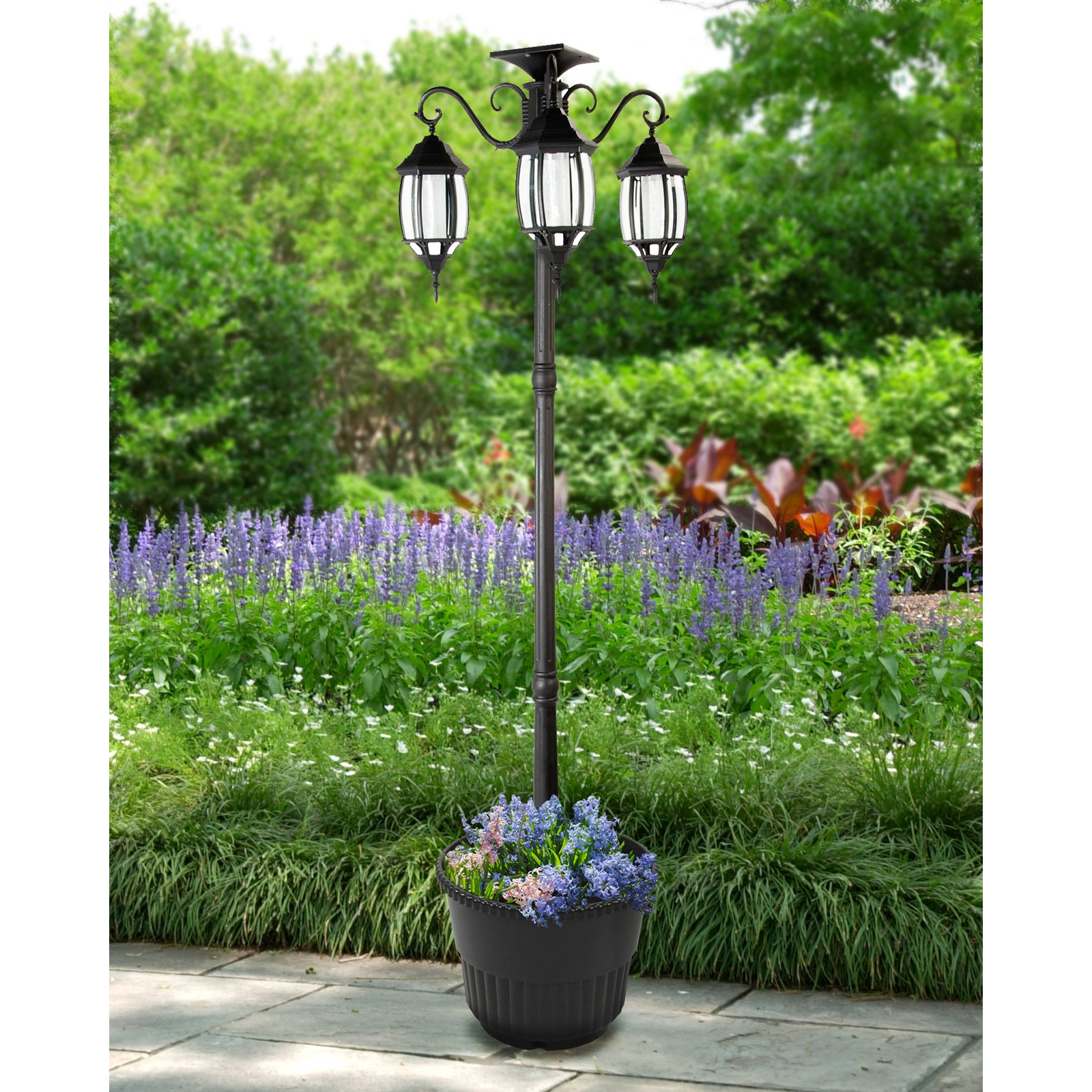 Sun Ray Madison Solar Lamp Post And Planter Walmart Com