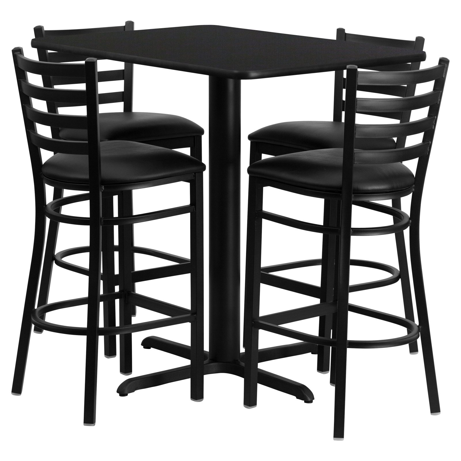 Flash Furniture 24''W x 42''L Rectangular Black Laminate Table Set with 4 Ladder Back Metal Barstools, Black Vinyl Seat Black