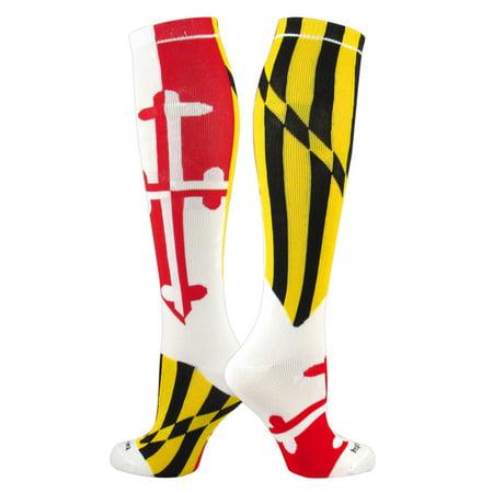 TCK Elite Flag Knee-High Socks - MARYLAND - White, Red, Gold, Black - proDRI (Gold And Black Nike Elite Socks)
