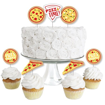 Pizza Party Time - Dessert Cupcake Toppers - Baby Shower or Birthday Party Clear Treat Picks - Set of 24 - Toppers Pizza Coupon Code