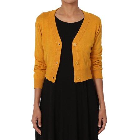 92a1f3ed47 TheMogan - TheMogan Women s S~3XL 3 4 Sleeve Button V-Neck Cropped Fine Knit  Sweater Cardigan - Walmart.com